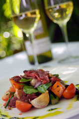 Roasted vegetable salad with peppered beef, Basil; & Pistachio Salsa verde